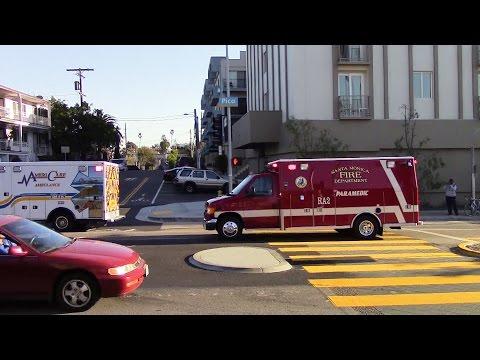 Santa Monica Fire Dept. RA 2 & AmeriCare Ambulance transporting