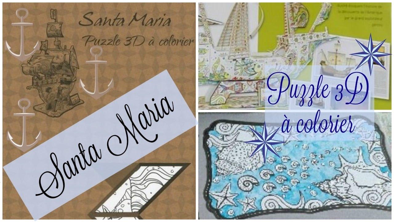 Présentation puzzle 3D Santa Maria  colorier