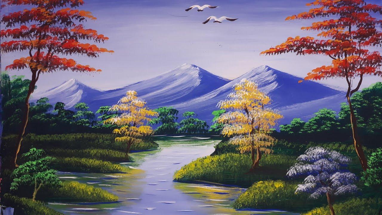 Riverside Landscape Senary Painting For Beginners
