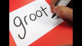 How to turn words BABY GROOT (Guardians of the Galaxy 2) into a Cartoon ! Learn Drawing art for kids