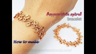 Asymmetric spiral bracelet inspired by Egyptian Coil from copper wire 478