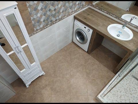 Вид сверху ! Интересный Дизайн ванной комнаты С душевой кабинкой ! Столешница из керамогранита