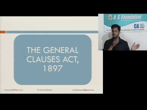 CA INTER Law The General Clauses Act 1897