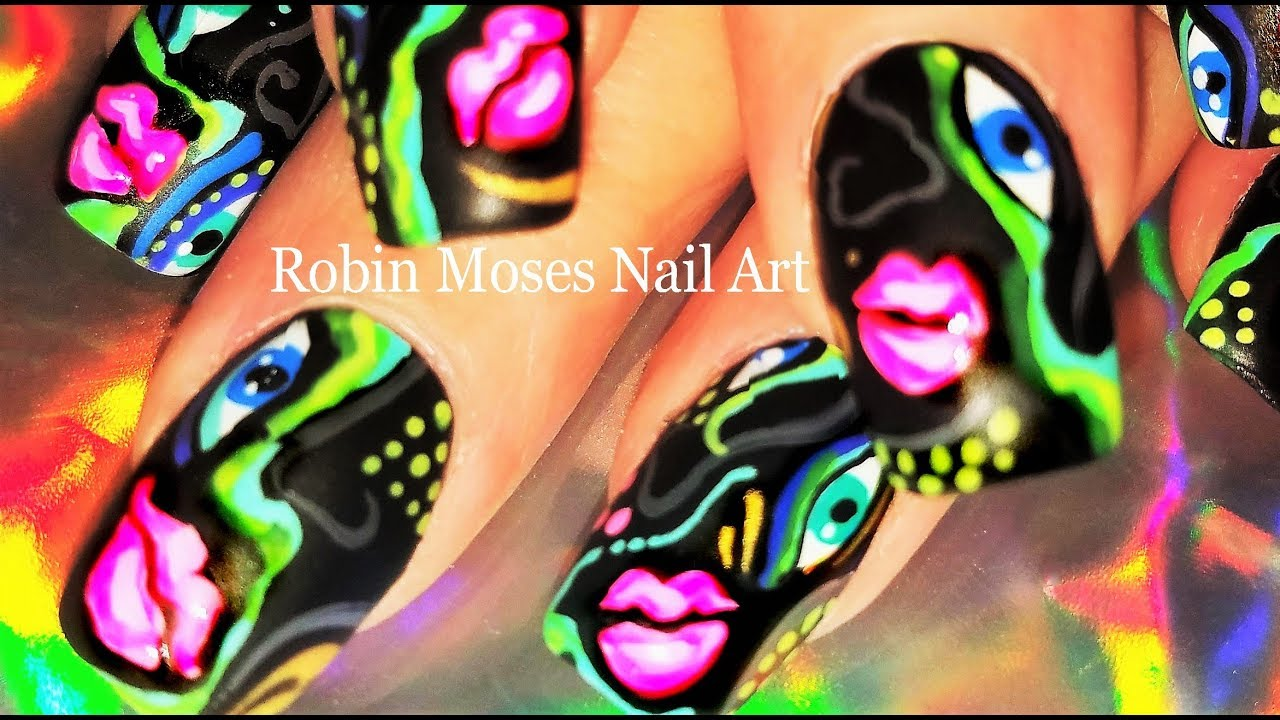 Picasso Nails 2018   Neon Abstract Nail Art Design Tutorial Best yet ...