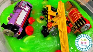 Thomas Train Downhill Slime Races Mystery Wheel Compilation!