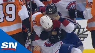 Large Scrum Ensues After Sean Couturier Blindsides Lehkonen After Canadiens Score Empty Net Goal