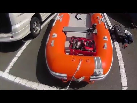 How to assemble the inflatable boat and install the fish finder