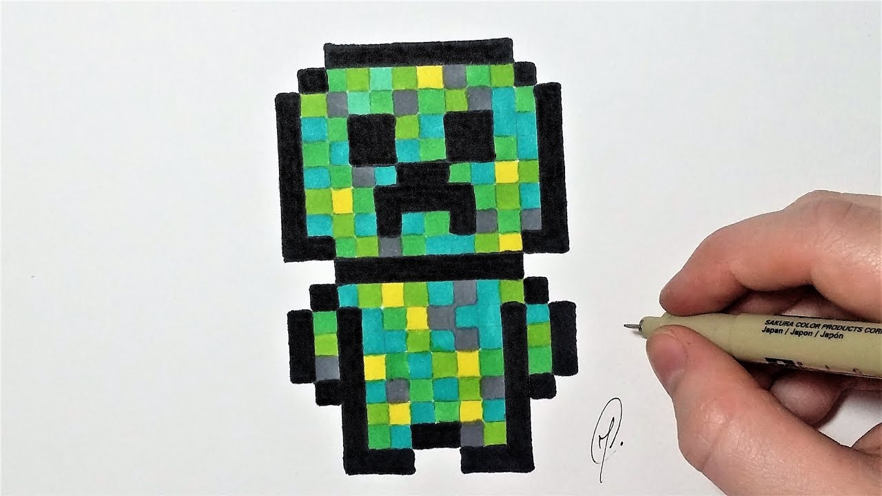 Creeper Minecraft Pixel Art Facile Youtube