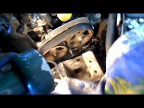 как поменять на рено клио,метки и проверка натяжки ремня,двигатель К4J Часть 4