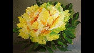 Желтые розы поэтапно маслом