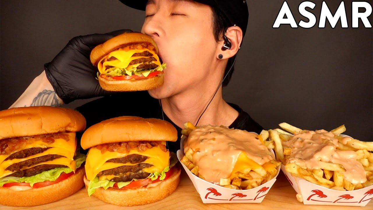 ASMR TRIPLE CHEESEBURGERS & ANIMAL STYLE FRIES MUKBANG (No Talking) EATING SOUNDS | Zach Choi ASMR
