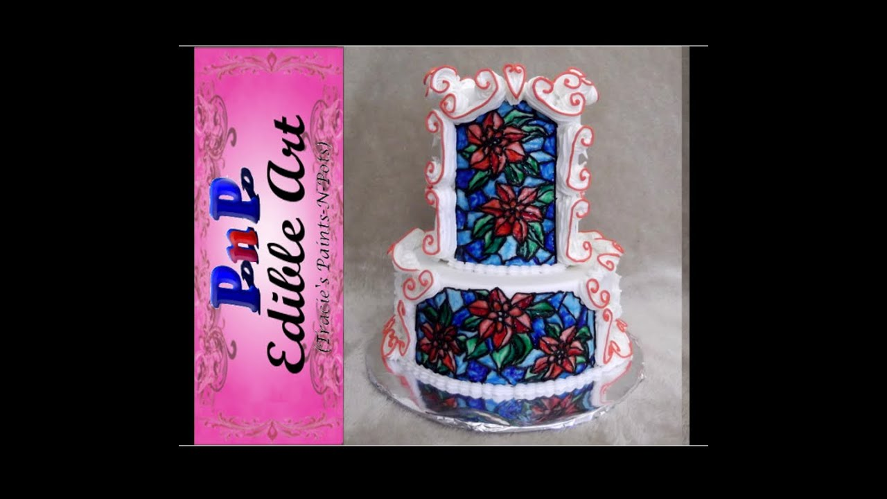 Stained Glass Poinsettia Wedding Cake Part 1  YouTube