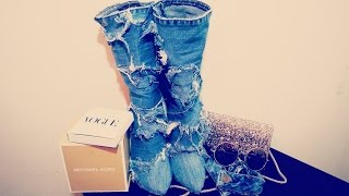 DIY DENIM BOOTS - DIY JEAN BOOTS