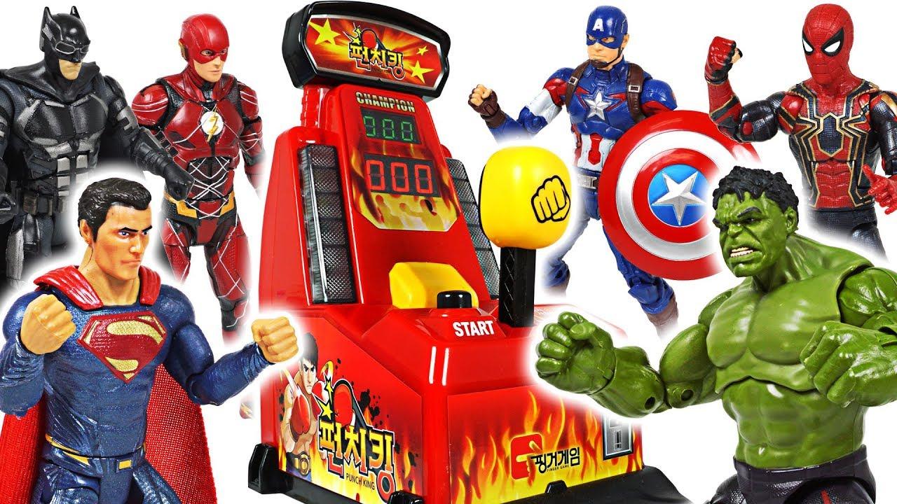 Who is the best? Marvel Avengers Hulk, Spider Man Vs DC Batman, Superman punch battle! - DuDuPopTOY