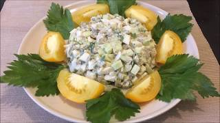 14.  Баклажановый салат с яйцами и огурцом