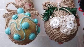 2 идеи новогодних шаров своими руками с нуля. DIY/рукоделие