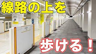 線路の上を歩いている感覚が味わえる駅。