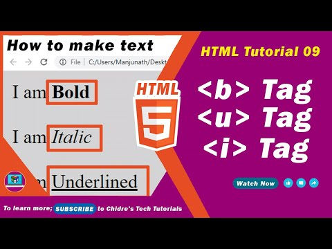 HTML Video Tutorial - 09 - Html B (strong) , U (ins) And I (em) Tags
