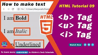HTML video tutorial - 09 - html b (strong) , u (ins) and i (em) tags Mp3
