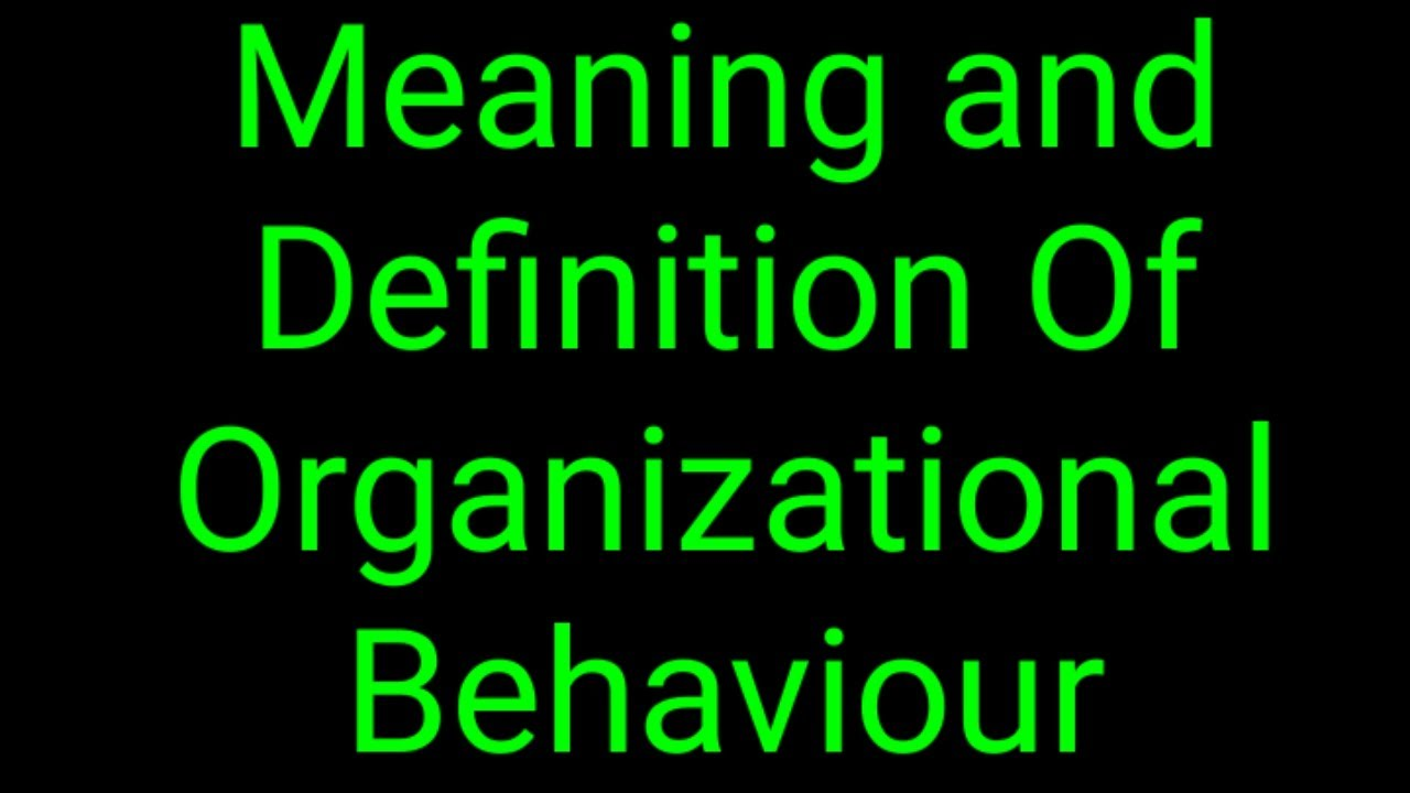Meaning and Definition Of Organizational Behaviour