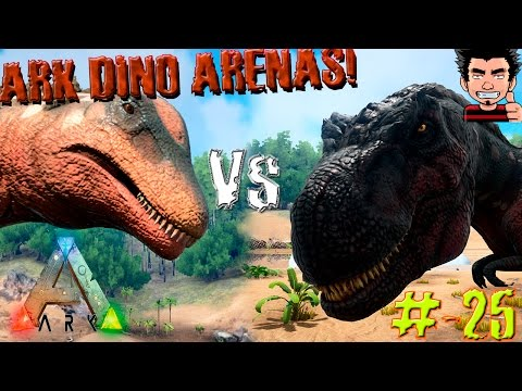 ARK Survival Evolved Titanosaur Vs T REX batalla dinosaurio arena gameplay español