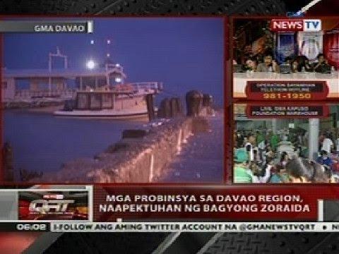 QRT: Mga probinsya sa Davao Region, naapektuhan ng Bagyong Zoraida