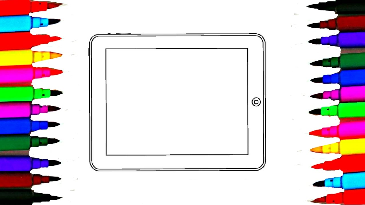 Coloring Pages Ipad Tablet PC l Computer Drawing Pages To Color For Kids l Learn Rainbow Colors ...