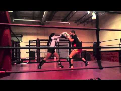 Mercedes Ashley Sparring With French Muay Thai Pro Fighter Clemente Lacroix