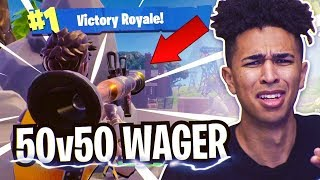 *CRAZIEST* 50v50 VBucks Wager! 8 Year Old Teammate Wants 10,000 VBUCKS! Fortnite Battle Royale