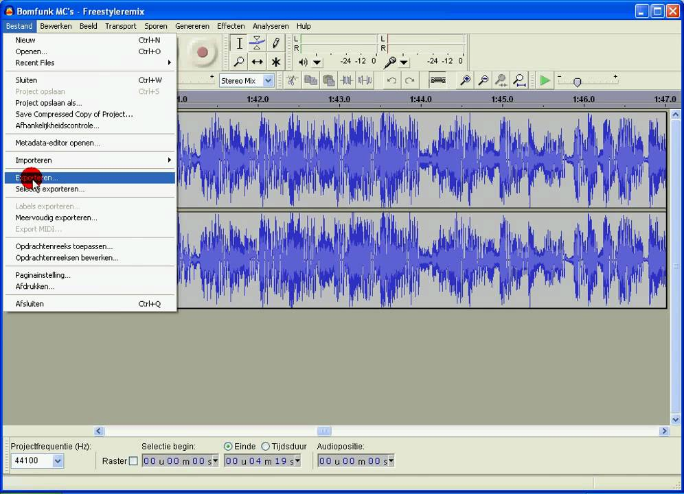 How to export Audacity files (AUP) to MP3 files