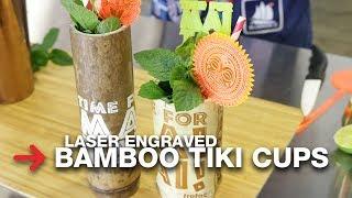laser engraved bamboo tiki cups troglass acrylic swizzle sticks