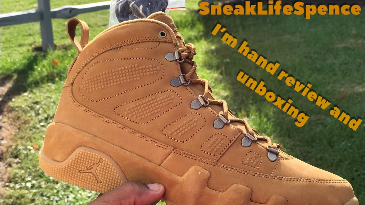 867735be3ec9d Jordan 9 boot NRG wheat review and unboxing - YouTube