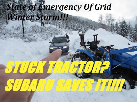 NEW HOLLAND TRACTOR STUCK IN SNOW SAVED BY SUBARU!!!