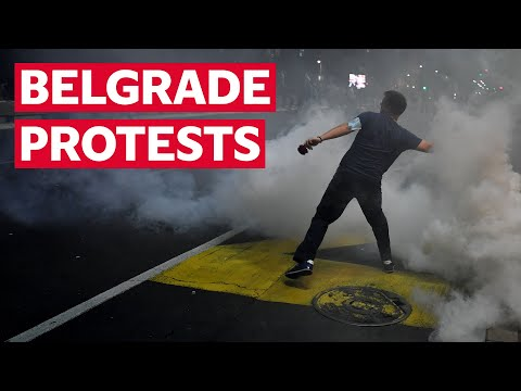 Serbia protests: Police fire tear gas as demonstrators take to the streets in Belgrade over lockdown