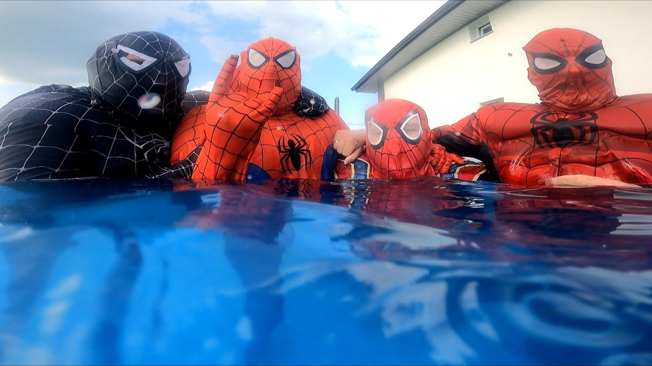 Team SPIDER-MAN's Diving In Swimming Pool