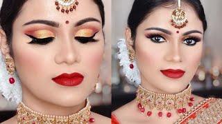 करवाचौथ/दिवाली का मेकअप Traditional KARWACHAUTH/ Diwali GOLDEN GLITTER Eye Makeup Red Lips 2019