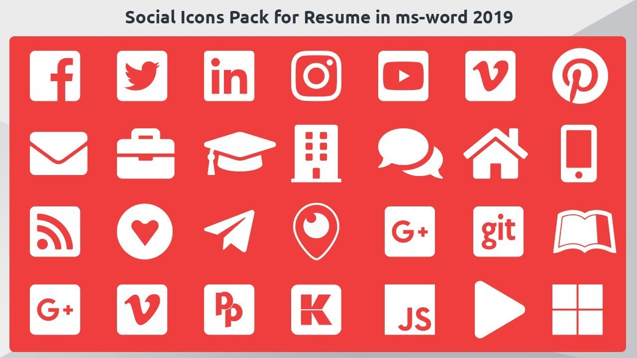 How To Insert Social Media Icons Pack And Symbols For Resume Cv