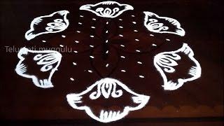 Beautiful flowers kolam designs with11-6 middle | chukkala muggulu with dots| rangoli design