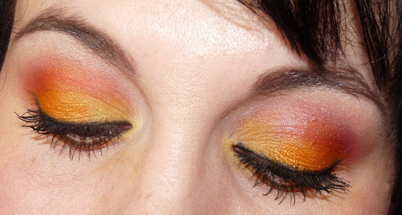 Tuto  make up printemps / été avec la palette sleek curaçao (jaune,  orange, rouge corail)