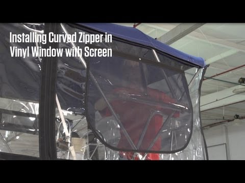 Installing Curved Zipper with Screen in Vinyl Window Material