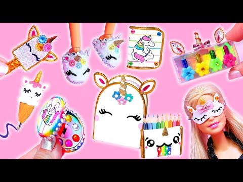 16 DIY MINIATURE UNICORN BARBIE IDEAS ~ School Supplies, Dress, Shoes, Cosmetics and more