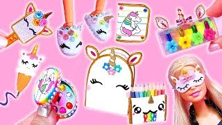 16 DIY MINIATURE UNICORN BARBIE IDEAS ~ School Supplies, Dress, Shoes, Cosmetics and more