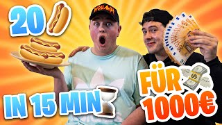 20 HOTDOGS in 15 MINUTEN für 1000€ 🌭😱