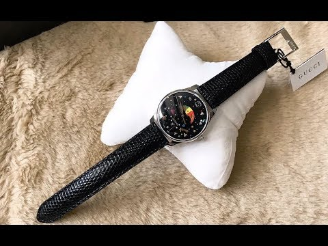 ff023fa749e (Review Đồng Hồ ) GUCCI G-Timeless Black with Stars and Planet Moonphase  Dial Ladies Watch YA1264045