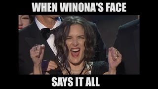 Winona Ryder's Expressions during the David Harbour SAG Speech are Exceptional