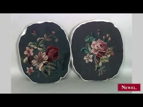 Antique 2 French Victorian oval shaped aubusson cushion