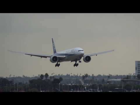 4K  ANA Boeing 777 landing at Los Angeles Intl Airport LAX