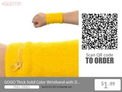 GOGO Thick Solid Color Wristband with Zipper from Opentip.com