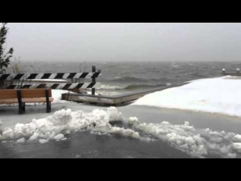 Scenes of Barnegat Bay near Long Beach Island during the winter storm