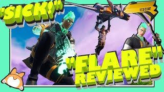 "Complete Honest Review: Fortnite ""FLARE"" Skin + ""CORE"" Wrap + ""VIVID AXE"" Pickaxe + ""MEGABAT"" Glider"